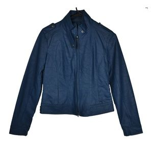 Blue Motorcycle Faux Leather Jacket